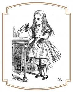 Alice au pays des merveille et la potion Drink me.