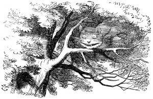 Le Chat du Cheshire et Alice au Pays des merveilles.