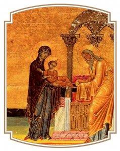 Présentation au Temple, ménologe de Basile II (XIe siècle)