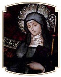 Vitrail représentant Sainte Brigitte d'Irlande